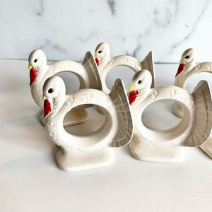 Turkey Napkin Rings Set of 8 White Thanksgiving